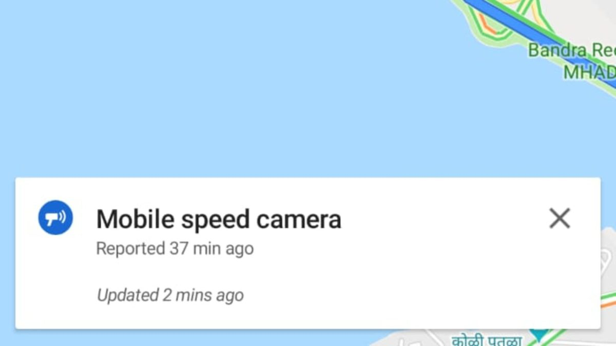 Google maps now shows speed camera updated