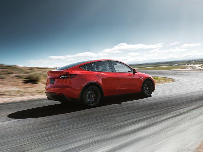 Tesla Model Y rear quarter red