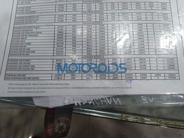 Bajaj Dominar leaked price list
