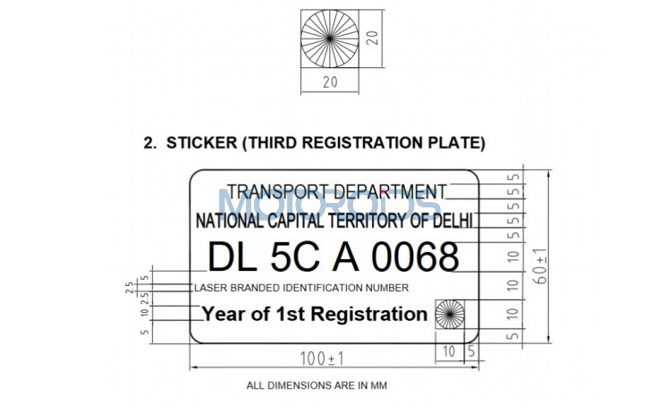 High security registration plate in India