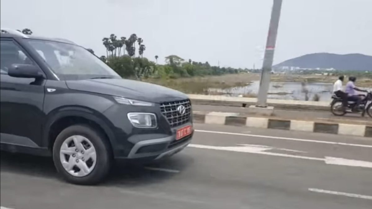 Hyundai Venue Test mule front from side