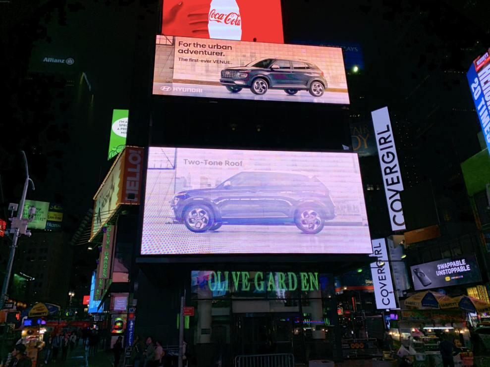 Hyundai Venue at times square dual screen