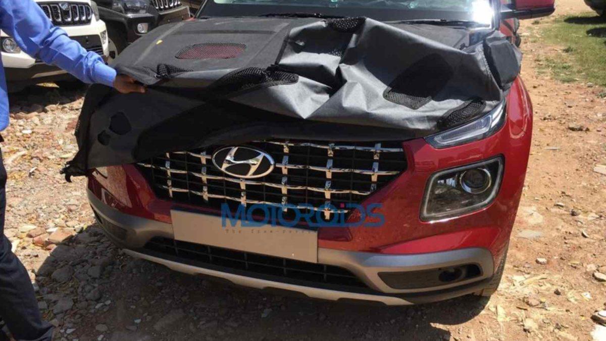 Hyundai Venue spied front bumper resized