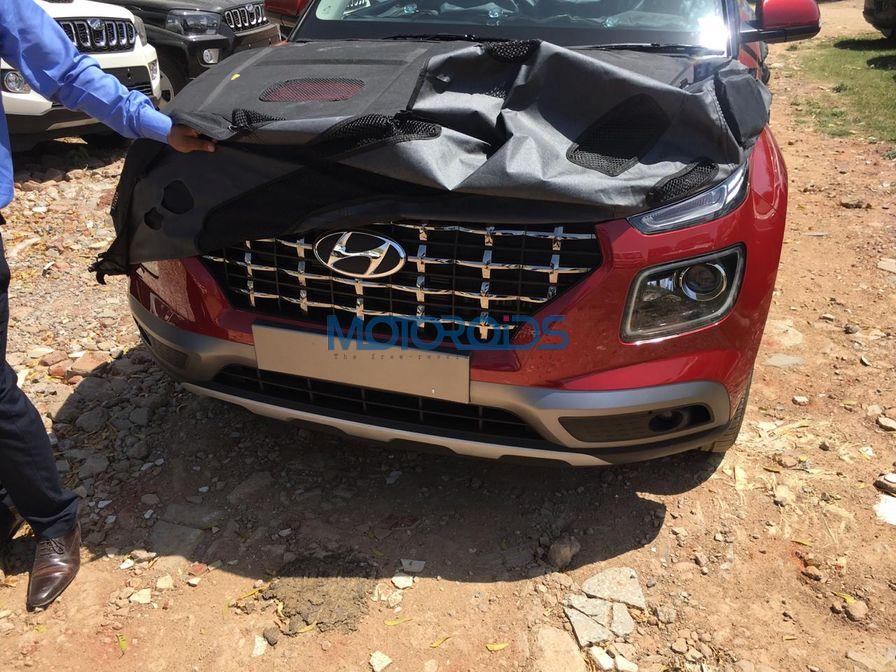 Hyundai Venue spied front bumper