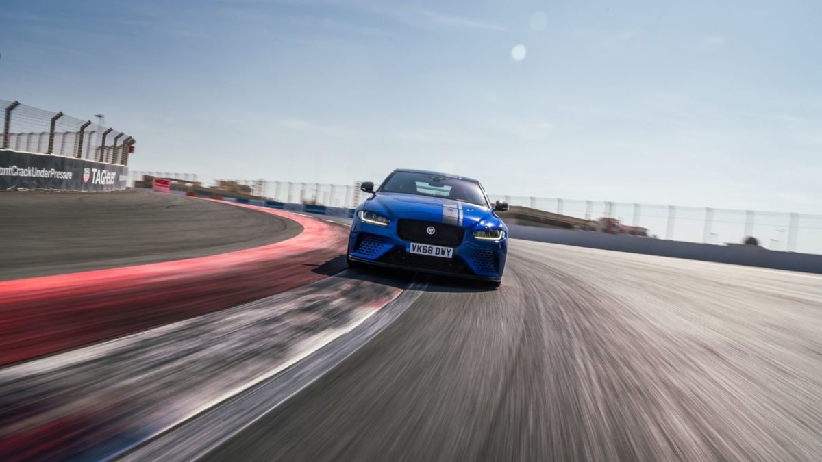 Jaguar XE SV Project 8 Dubai autodrome on track