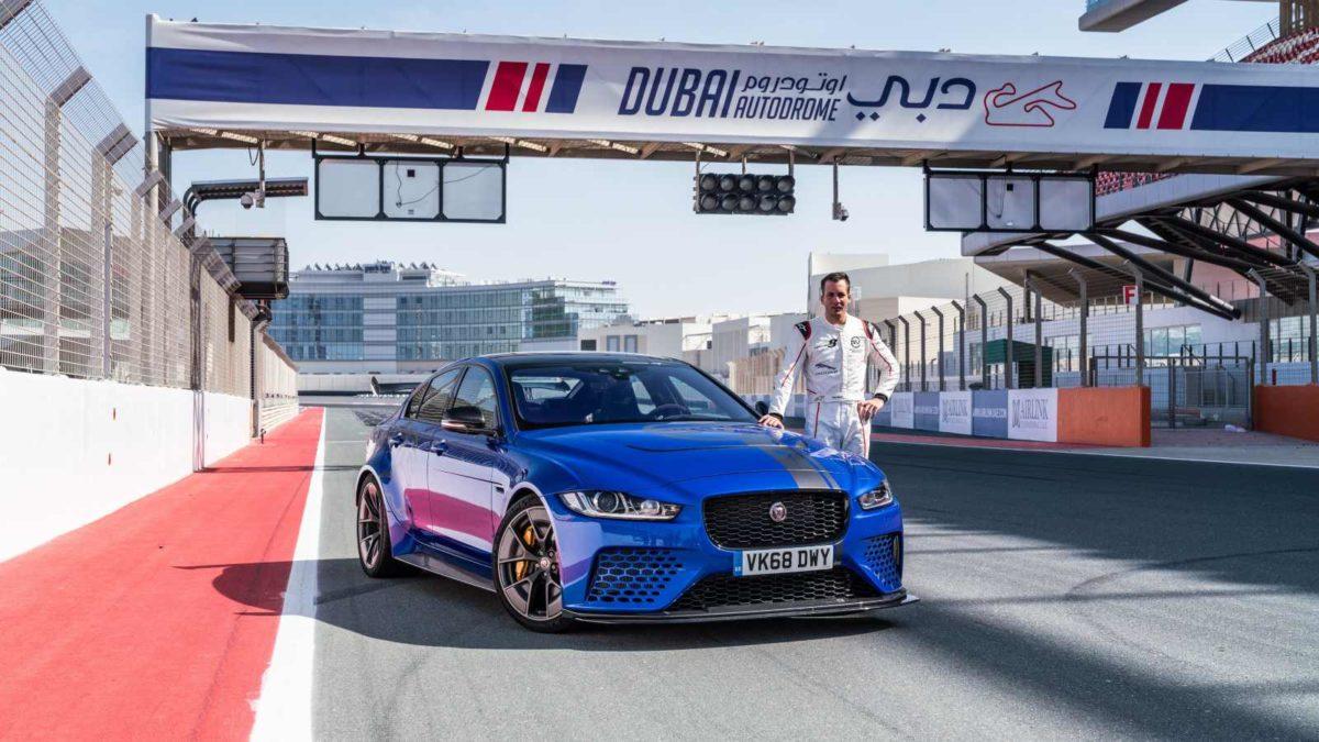 Jaguar XE SV Project 8 Dubai autodrome pits