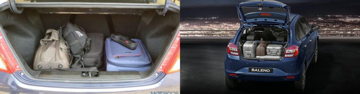Maruti Suzuki Baleno vs Maruti Suzuki Dzire Boot space