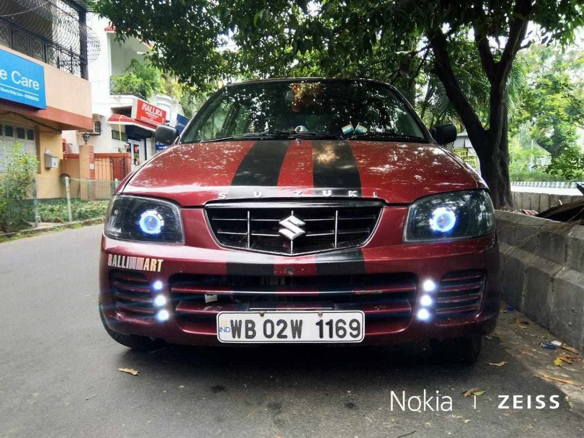 Modified 200 kmh Maruti Alto projector headlamps