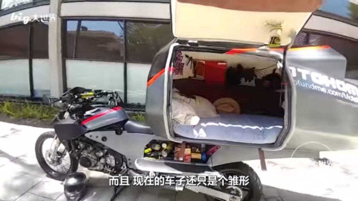 Motohome sleeping pod and storage