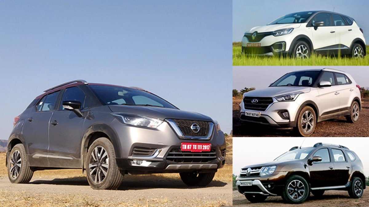 Nissan kicks vs Hyundai Creta vs Renault Duster vs Renault Captur