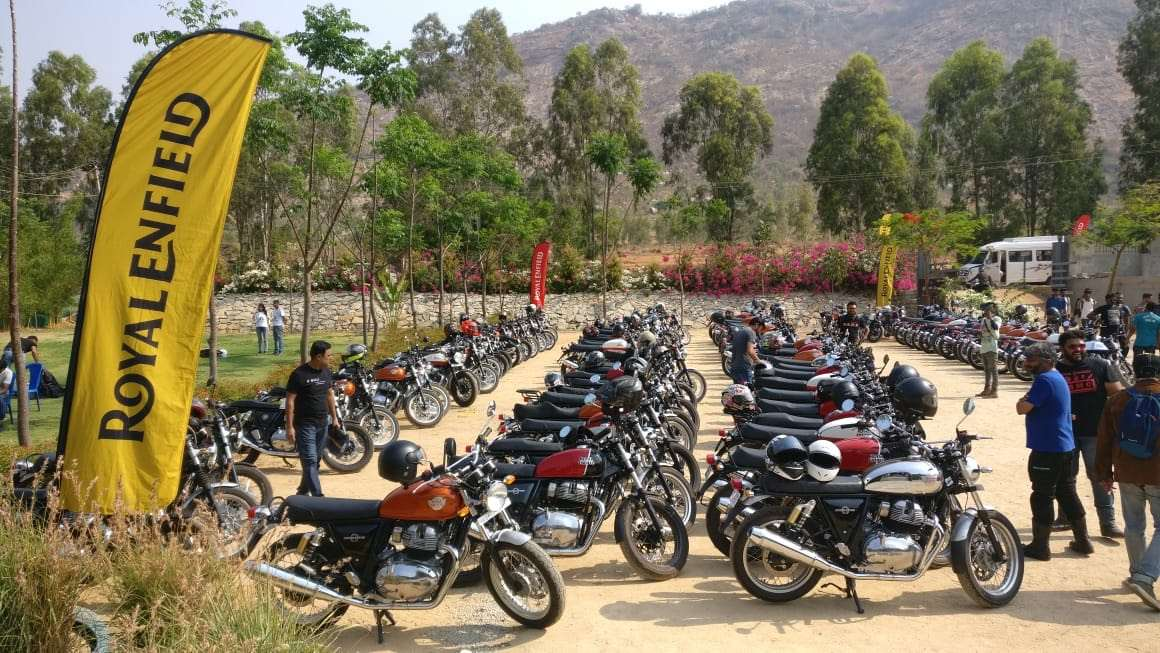 Royal Enfield 650cc Owners Breakfast Meet parking lot