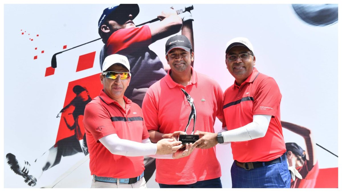 Dr. Kaushal Anand and Sumit Pant, winners of the India leg of Audi quattro Cup 2019 finals with Mr. Rahil Ansari, Head, Audi India