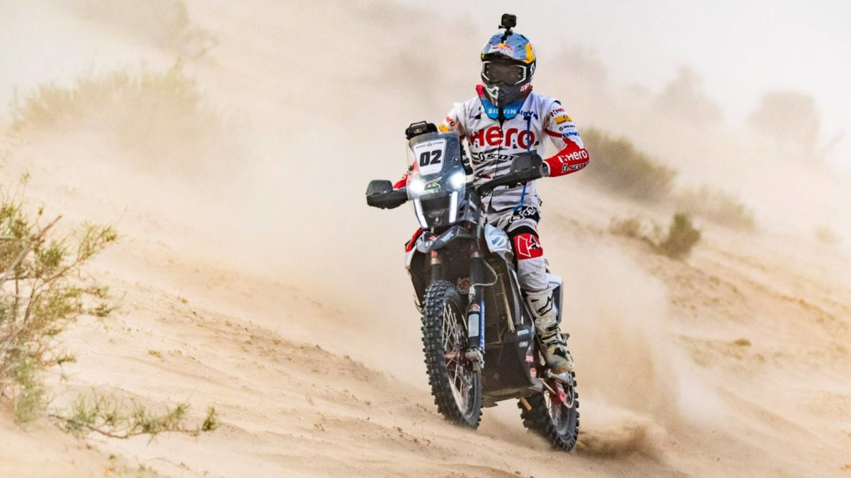 Hero MotoSport Cs Santosh in desert storm Rally