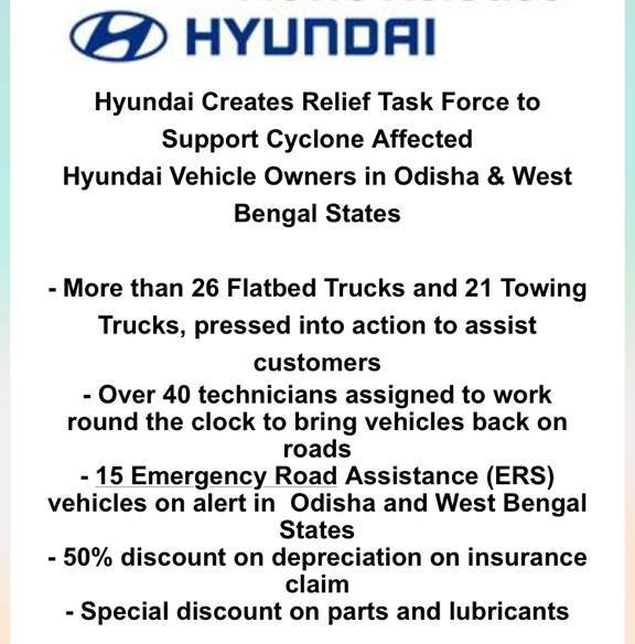 Hyundai to offer releif to cyclone Fani affected states