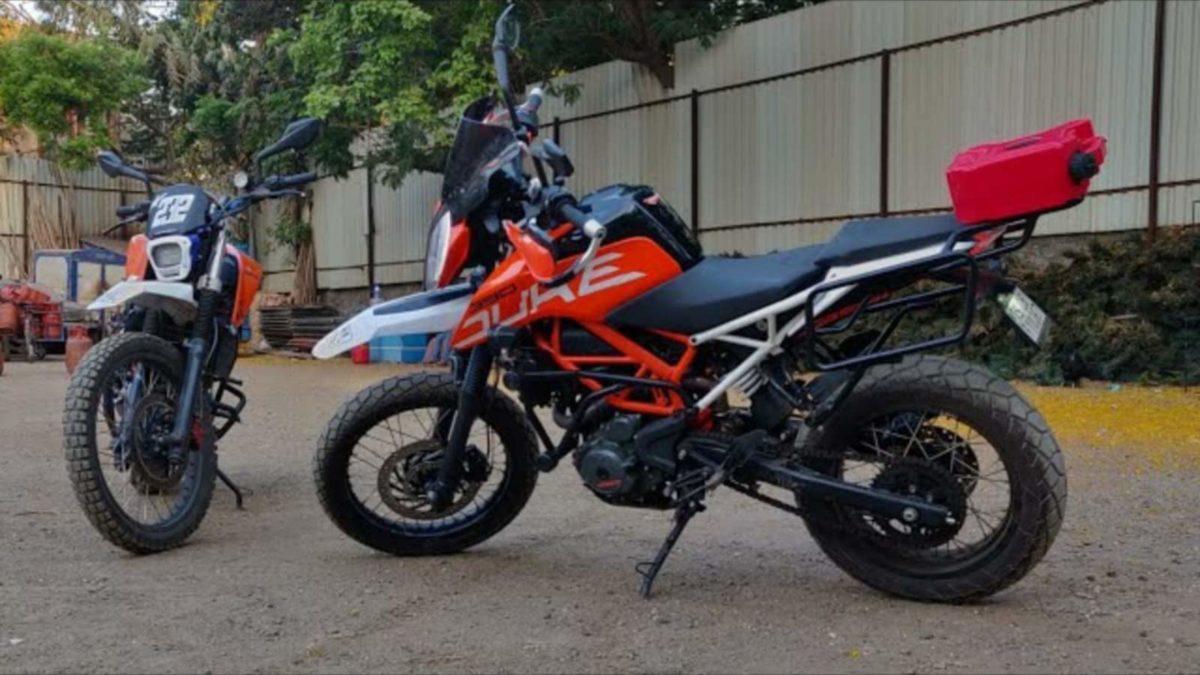 KTM Duke 390 modified adventure tourer side low