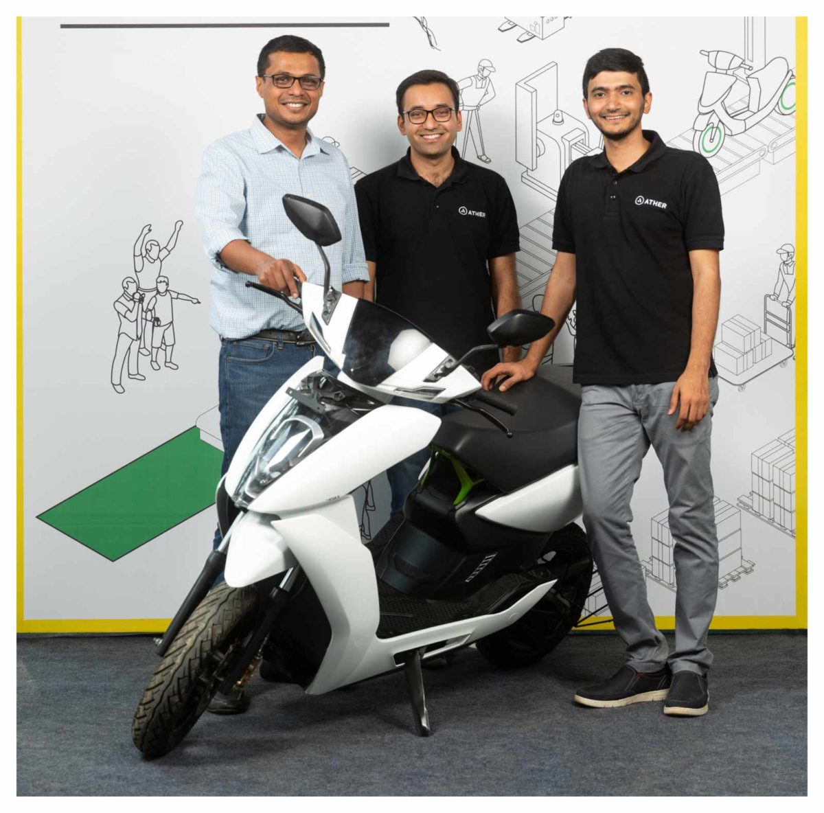 L R – Mr. Sachin Bansal, Tarun Mehta, CEO and Co Founder, and Mr. Swapnil Jain, CTO and Co Founder, Ather Energy