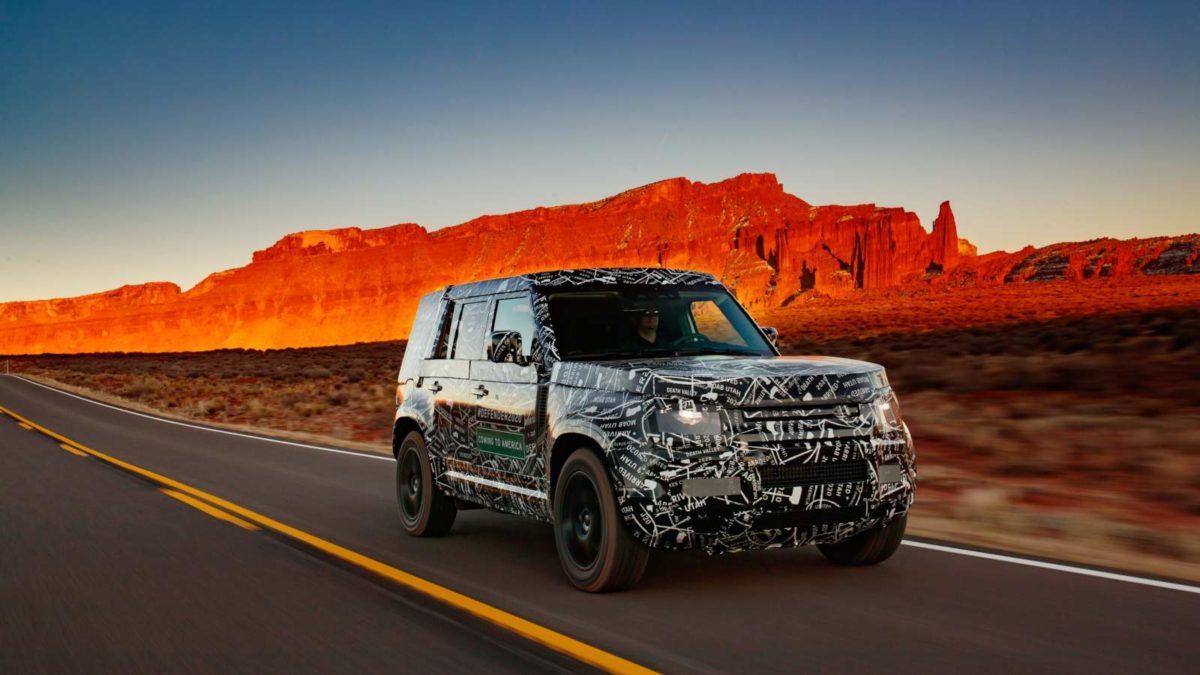 Land Rover Defender test mule front quarter rolling