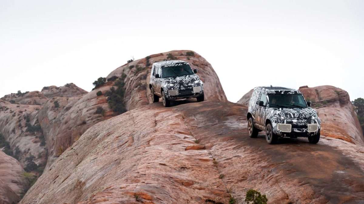 Land Rover Defender test mules rock crawling