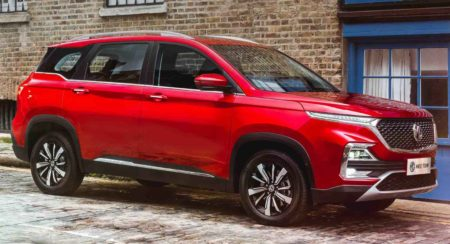 MG Hector bookings open side quarter red