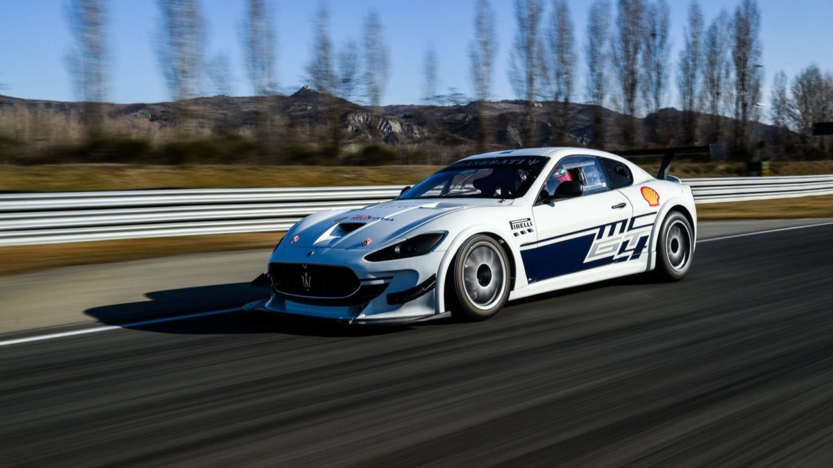 Maserati race spec GT on track side