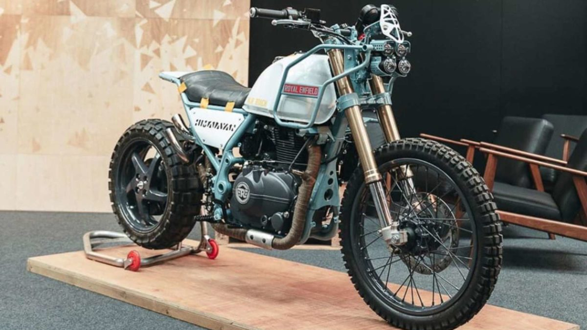 Modified Royal Enfield Himalayan MJR Roach front quarter