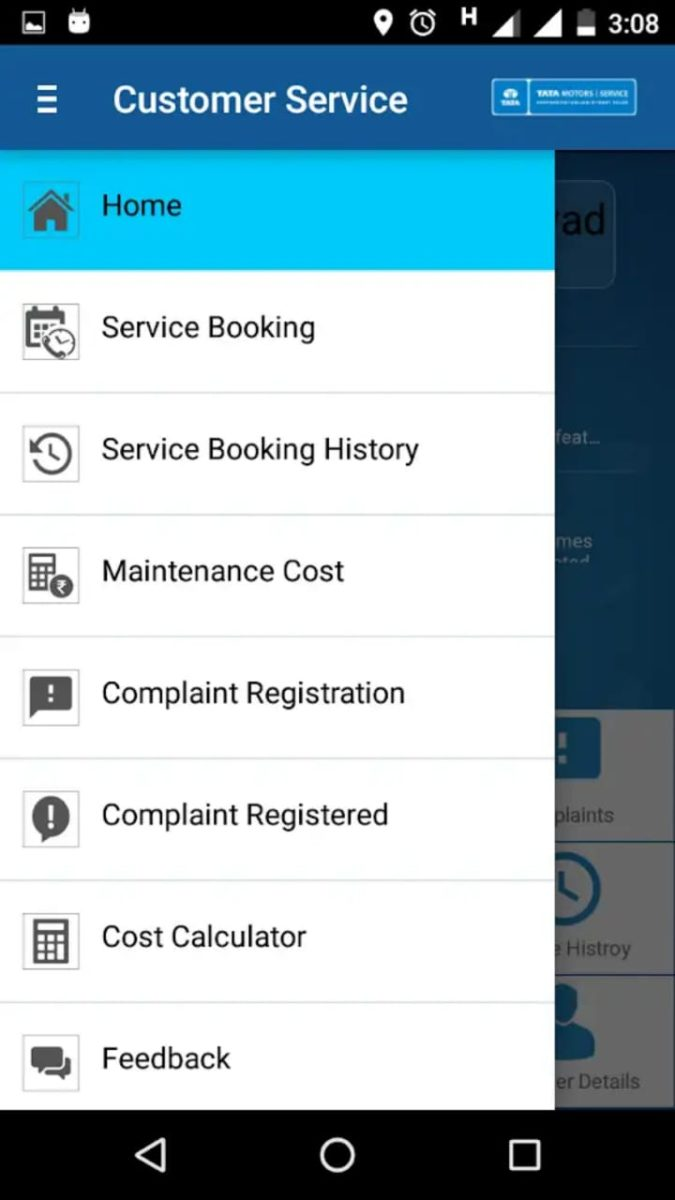 Tata Motors Service App side menu