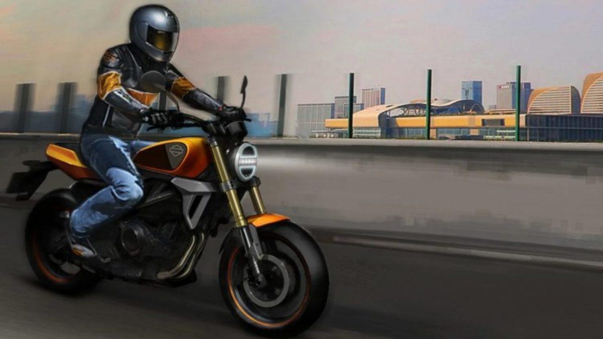 Harley Davidson 338 cc bike rolling side