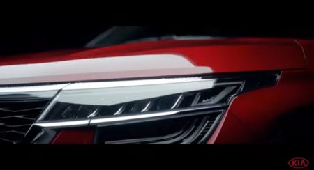 Kia Seltos teaser two front quarter headlight