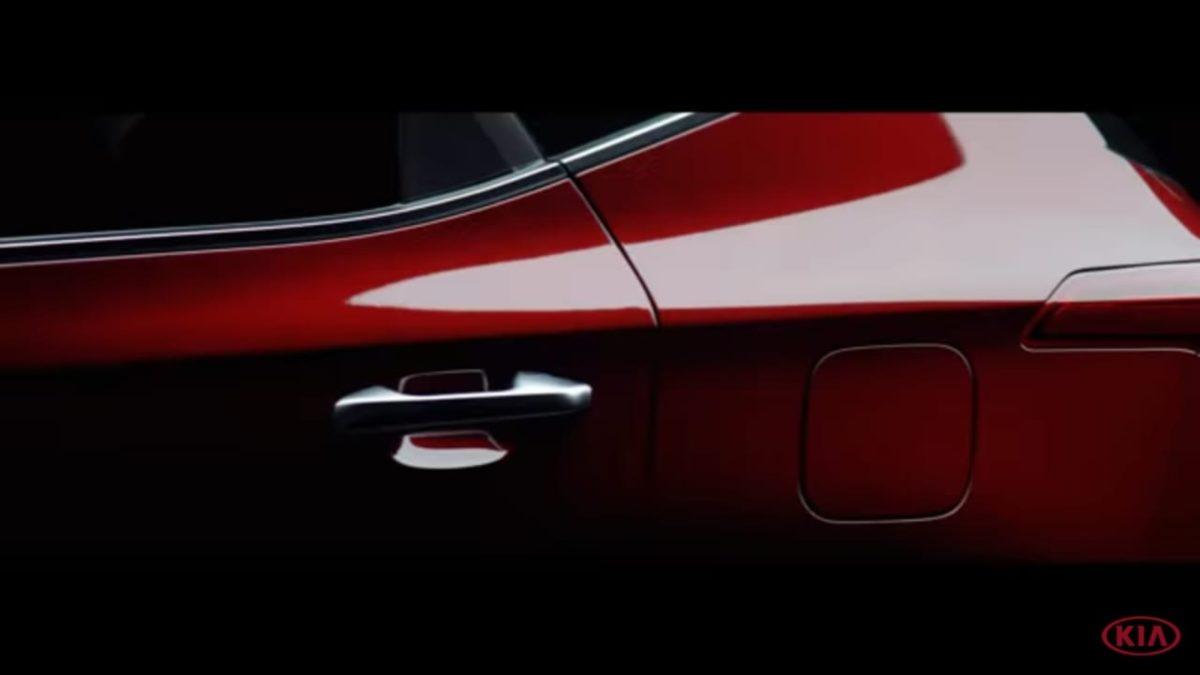 Kia Seltos teaser two rear quarter panel