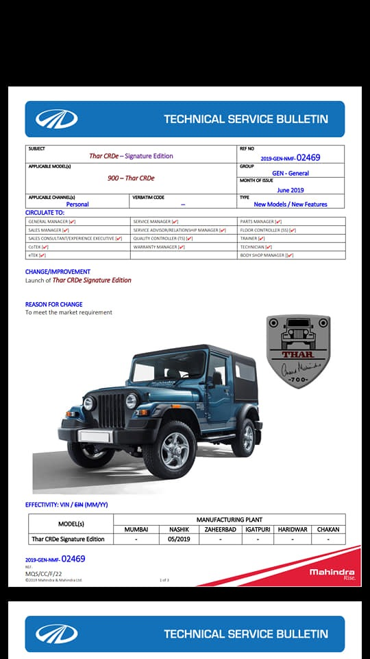Mahindra Thar Signature Edition Leaked Document page 1