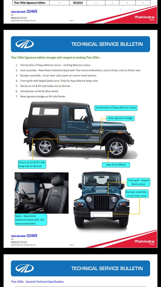 Mahindra Thar Signature Edition Leaked Document page 2