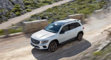 Mercedes Benz GLB unveiled front quarter top