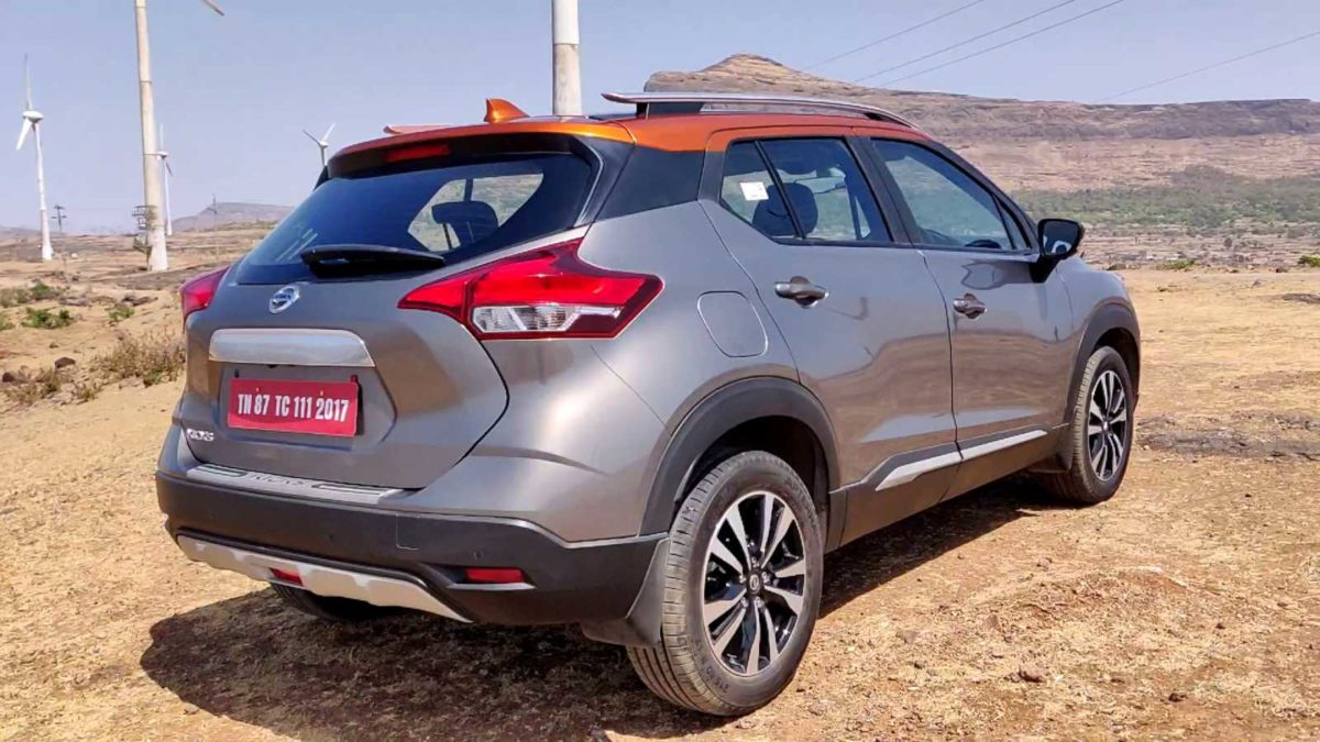 Nissan Kicks rear three quarters
