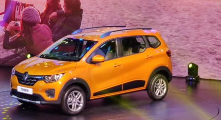 Renault Triber reveal orange side quarter