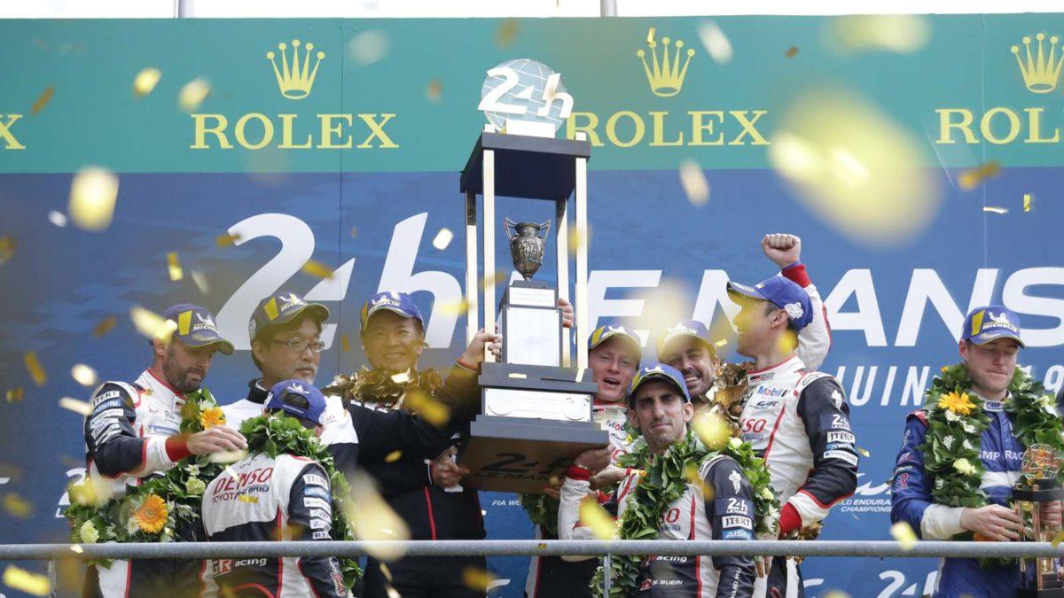 Toyota Wins at Le Mans podium