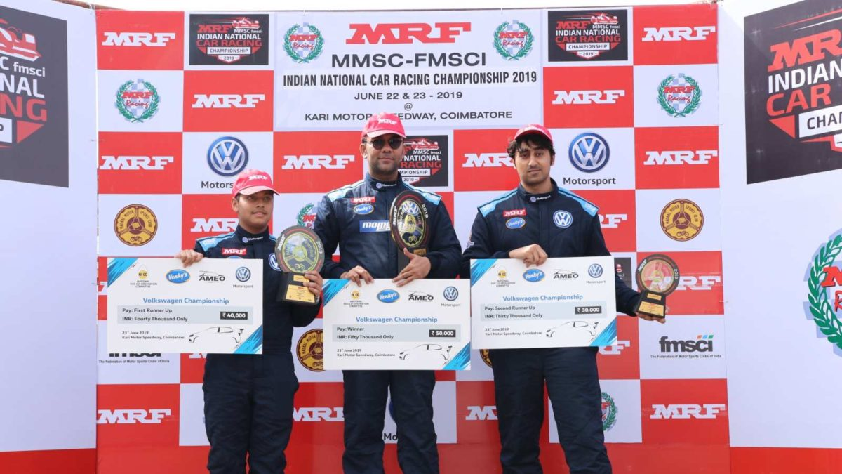 Volkswagen Ameo Cup 2019 first round race 2 winners