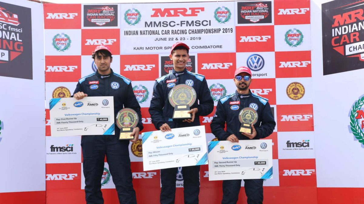 Volkswagen Ameo Cup 2019 first round race 3 winners