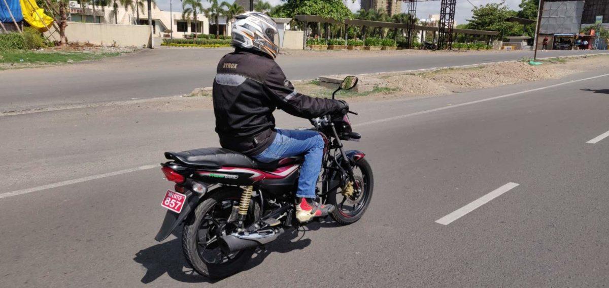 Bajaj Platina 110 H Gear Review action shot