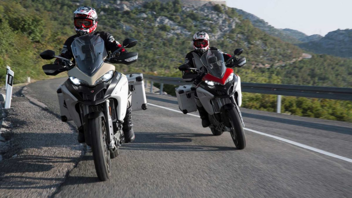Ducati Multistrada 1260 Enduro Sand and Red on road