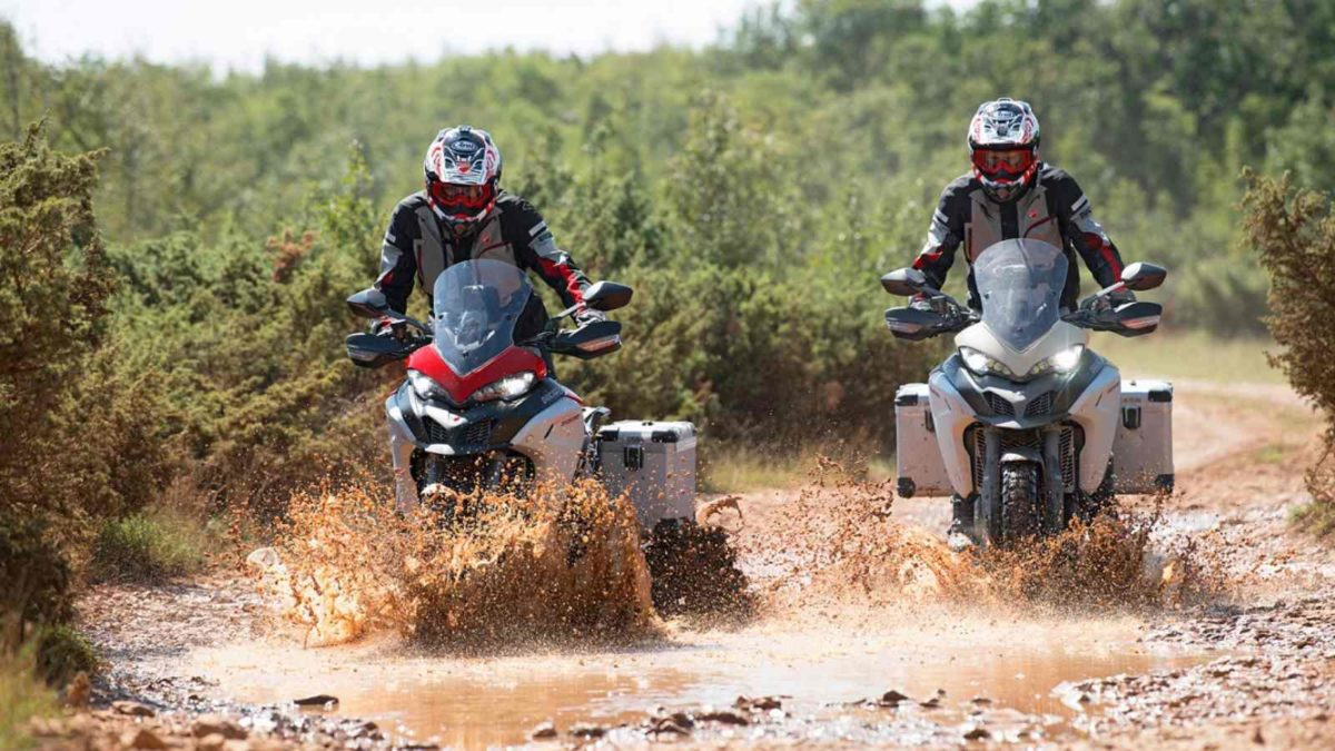 Ducati Multistrada 1260 Enduro Sand and Red wading through water