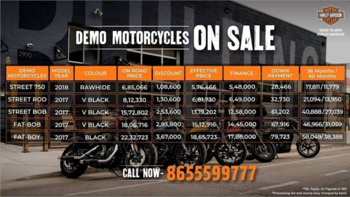 Harley Davidson Demo Motorcycles on discount
