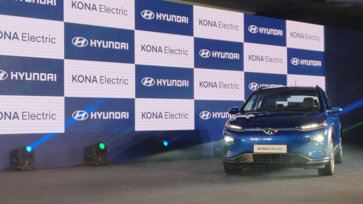 Hyundai Kona Electric Launch blue front low