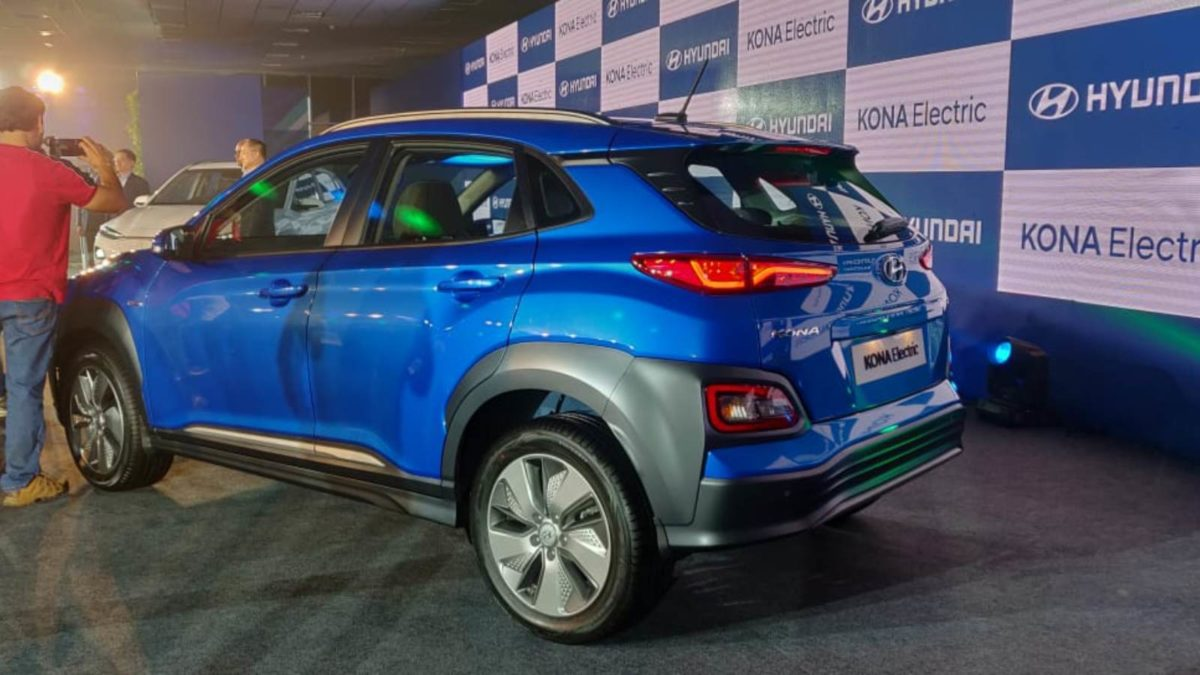 Hyundai Kona Electric Launch blue rear quarter