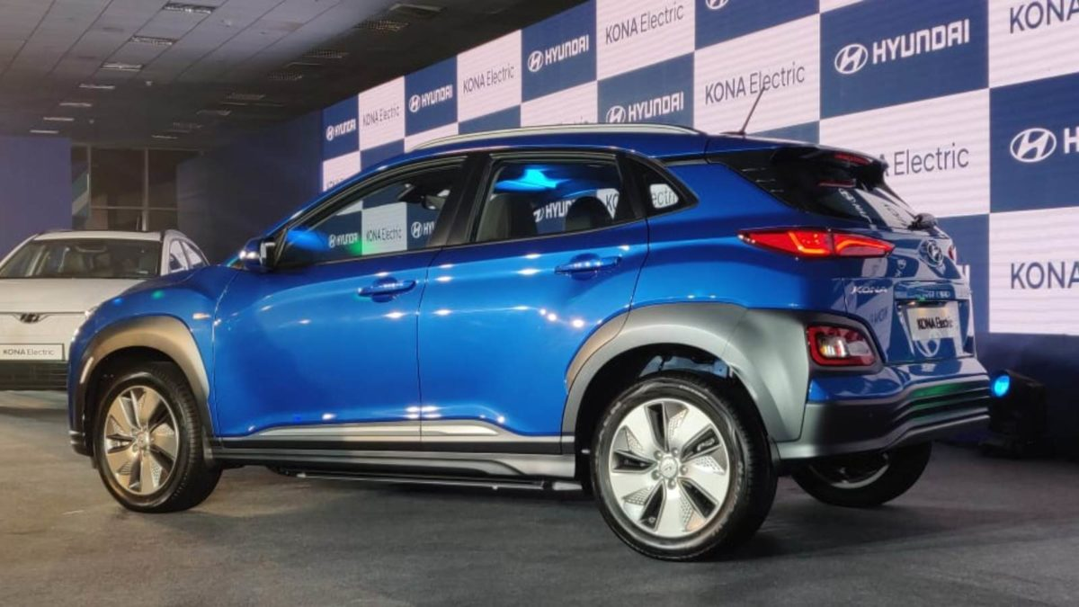 Hyundai Kona Electric Launch blue rear quarter low