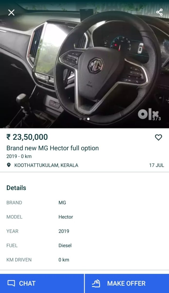 MG Hector OLX Ad INR 23.5 Lakh