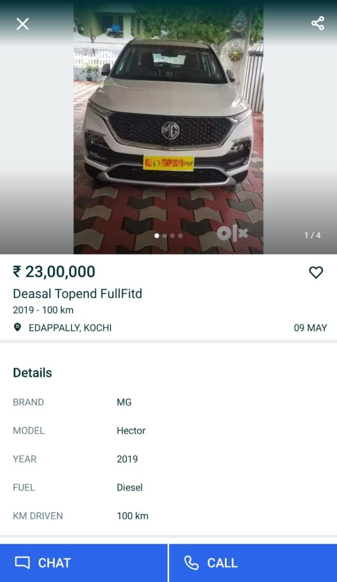 MG Hector Listed On OLX At Premium Prices After Bookings Shut