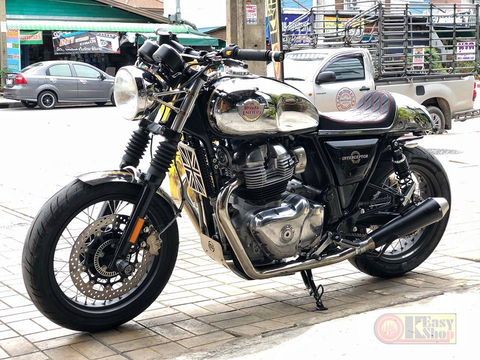 Modified Royal Enfield Interceptor 650 front left