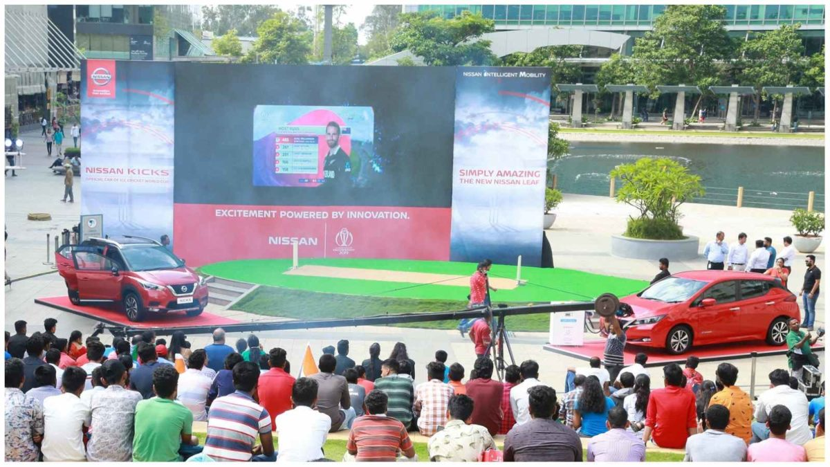 Nissan KICKS and Nissan LEAF screening the Ind vs NZ match in Bangalore
