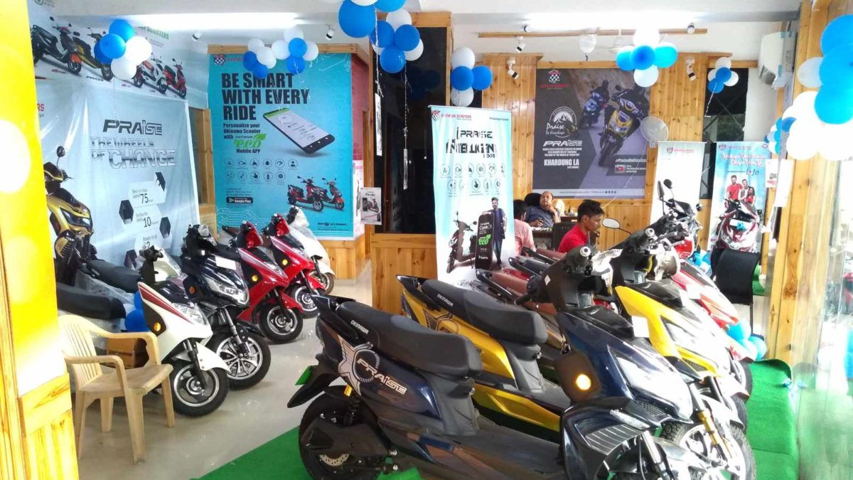 Okinawa dealership in Delhi showroom display