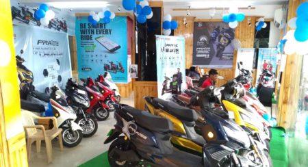 Okinawa dealership in Delhi showroom display